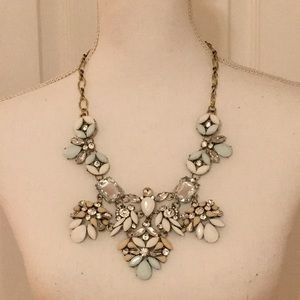 Faux Crystal & White Floral Statement Necklace